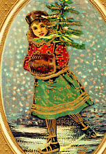 Christmas~VICTORIAN GIRL ICE SKATES w/TREE~FUR MUFF~GOLD Emboss Antique Postcard