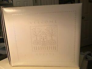 """Welcome Guests"" Book Hallmark Keepsake Album embossed Home VTG Name Address"