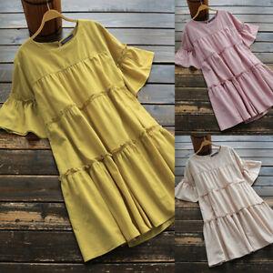 ZANZEA 8-24 Women Short Sleeve Tiered Layered Sundress Flare Club Party Dress