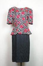 Vintage 80s Dress Black White Red Floral Print Peplum Silk Misses 12