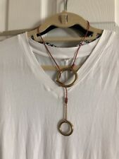 Henri Lou Lasso Double O Ring Copper Leather Lariat Necklace New List $60