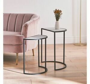 Half Moon Console Table 2 Set Metal Industrial Marble Top Furniture End Hallway