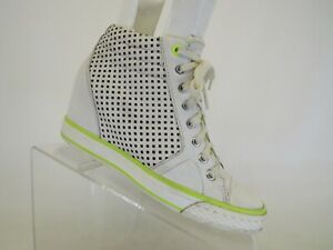 DKNY White Leather Zip Laces Hidden Wedge Ankle Fashion Sneakers Shoe Size 6.5 M