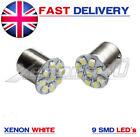 2x Xenon White 9 SMD LED Parking Sidelight Bulbs 1156 BA15s 245 207 P21W 382
