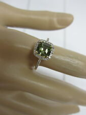 GORGEOUS ESTATE 14 KT GOLD 1.99 CTW VIVID GREEN TOURMALINE & DIAMOND RING !!!!