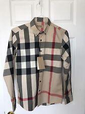 Burberry London Men's camel Long Sleeve Novacheck Dress Shirt Size Small