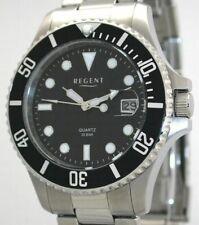 Regent Stahl Herren Uhr F-371 Quarzuhr Armband Silber Urf371