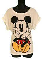 Disney Mickey Mouse Womens Crew Neck Plus Size White Short Sleeve T-Shirt