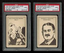 """PSA 9 Two 1934 Snap Quiz Cards of JAMES NAISMITH """"Who Invented BASKETBALL"""""""