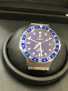 Hublot GMT 1572.1 Blue Dial Mens Watch Stainless Steel Date Window 36mm Warranty