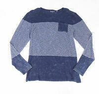 Knowledge Cotton Apparel Mens T-Shirt Blue Size XL Stripe Print Pocket Tee #151