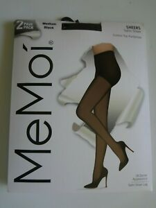 MeMoi Women's 2 Pair Pack Satin Sheers Medium Black NWT Control Top Pantyhose