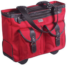 """Clark & Mayfield Marquam Rolling Tote Bag 18.4"""" Laptop Briefcase - Red"""