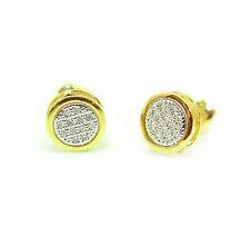 10K Yellow Gold Diamond Earrings Micro-Pave Diamond Round Cluster Studs .05ct