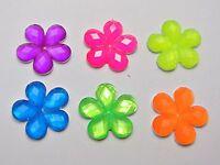 50 Mixed Neon Color Flatback Acrylic Flower Rhinestone Gems 20mm No Hole