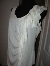 ELLE ,Sleeveless Knit Top,Ivory White ,Side Ruffle front,V-Neck ,XL