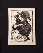 Helen Siegl Philadelphia Artist Wood Block Print    FLEP - DOODLE - FLEP