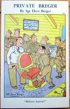 1942 WWII Private Breger Linen Postcard: #312, Military Haircut/Barber