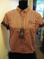BNWT AMY WINEHOUSE FRED PERRY BLACK AND PINK GINGHAM SHIRT SIZE 14 RARE!!