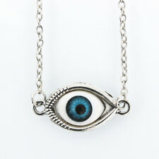 Evil Eye Fashion Necklace Adjustable Silver Chain Lucky Blue Eye Kabbalah Amulet