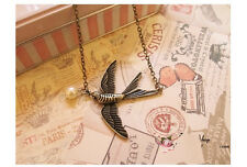 Hot Arrival Elegant Retro Cute Bronze Swallow Bird Pearl Bead Pendant Necklace