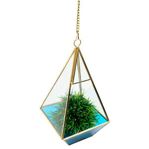 Hanging Teal Glass Terrarium Planter Vase