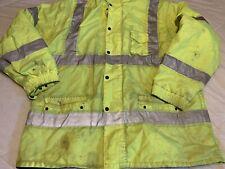 Reflective Neon Safety Jacket Coat Fleece Lined Zip off Sleeves Size XX Large