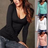 Fashion Womens Long Sleeve T Shirt V-Neck Blouse Ladies Slim Cotton Shirt Tops