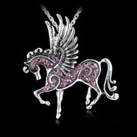 Retro Silver Jewelry Necklace Pendant Pegasus Crystal Sweater Chain Fashion Gift