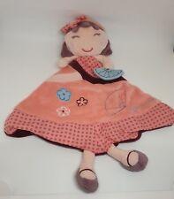 Doudou plat poupée fille Hanaé SAUTHON robe rose violet bleu fleur éventail NEUF