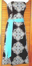 COAST A TEAL & BLACK STRAPLESS DRESS-BONED BODICE-SIDE ZIP-LINED UK 10-WORN ONCE