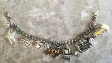 STAMPED STERLING ITALY CHARM BRACELET 12 CHARMS SCHOOL BUS CELL PHONE NANA HEART