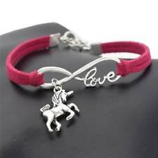 Fashion Women Lucky Unicorn Horse Infinity Love Leather Bracelet Bangle Jewelry