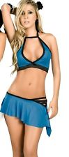 NEW 2039 Blue Black SEXY 2 Pieces SKIRT SET Rave Bikini Club Dance Wear S M L XL
