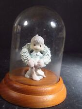 Precious Moments SURROUNDED WITH JOY PEWTER W/ GLASS DOME Boy Wreath Miniature