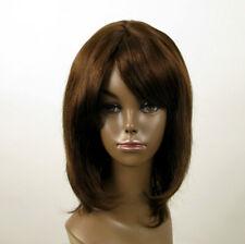 Perruque afro femme 100% cheveux naturel mi long châtain ref ISA 02/6