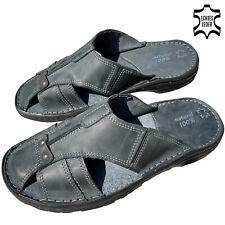 Herren Leder Pantoletten Sandalen Schuhe in schwarz grau Pantoffeln 40-46 NEU