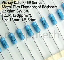 2 pezzi Resistenza 22 Ohm, 3W 5% antifiamma a strato metallico Vishay Dale FP69