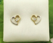 Sassi E1103YW Ladies 9ct 375 Gold Heart Shape Cubic Zirconia CZ Stud Earrings