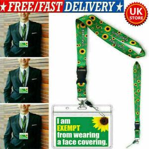 Face Covering Mask Exemption PVC Card Hidden Disabilities Sunflower Lanyard UK