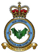 RAF 9 SQUADRON BADGE ON METAL SIGN 5 x 7 INCHES. FITS STANDARD FRAME. ALUMINIUM