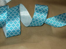❤️ Turquoise Blue & White Frozen Cakes Crafts Bows Wire Edged Ribbon ❤️  3 FOR 2