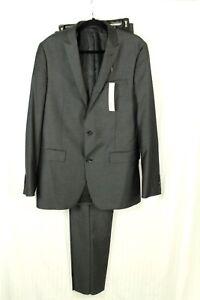 Bar III Men's Slim Fit Gray Herringbone 2 Pc Suit Size 40 Long Pants size 33W