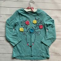 Girls 3-4 Years - Christmas T-shirt - NUTMEG Reindeer Blue Xmas Long Sleeved