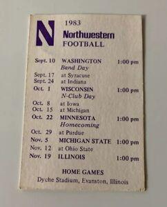 1983 Northwestern Wildcats Football NCAA Pocket Schedule