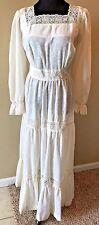 Vintage 1970s Muslin Tiered Ruffle Lace Prairie Maxi Wedding? Dress size M DS12