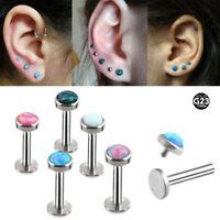 Opal G23 Titanium Flat Tragus Lip Ear Cartilage Ring Barbell Stud Earring 16G