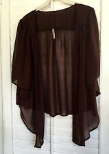 Womens Chiffon Brown Cardigan Bolero Shrug Yummy Plus Size 1X