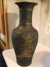 Large 15 inch 19th century Black satin Satsuma vase.