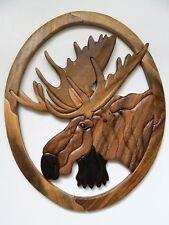 Moose Head Intarsia Wood Wall Art Home Decor Plaque Big Game Lodge New